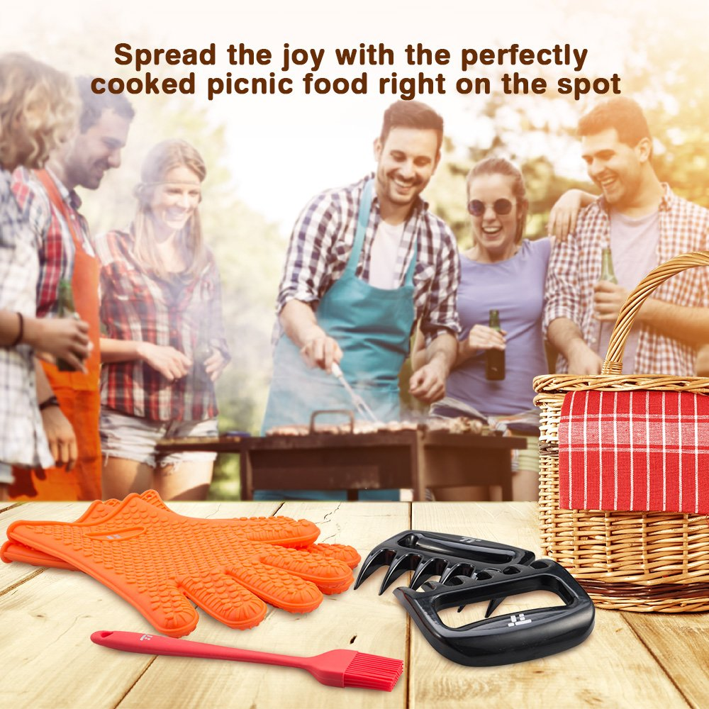 BBQ Gloves Heat Resistant, TaoTronics Meat Shredder Silicone and BBQ Brush, Grill Accessories, Perfect for Shredding Smoked Meat & Pulled Pork, Dishwasher Safe, FDA Approved by TaoTronics (Image #8)