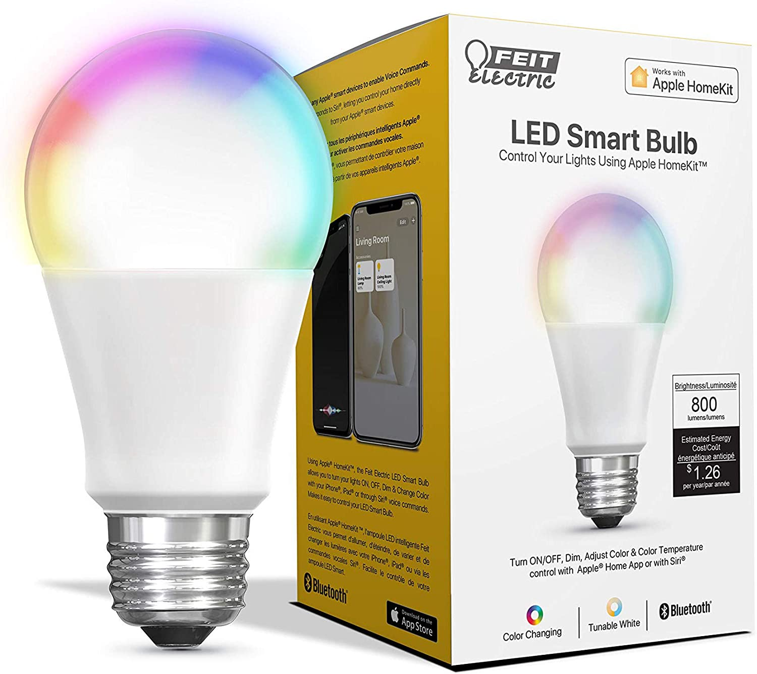 """Feit Electric OM60/RGBW/HK 60W Equivalent Tunable Changing A19 Smart, Works with Apple HomeKit and Siri Voice Control, No Hub Required LED Light Bulb, 4.4"""" H x 2.4"""" D, Multi-Color RGBW"""