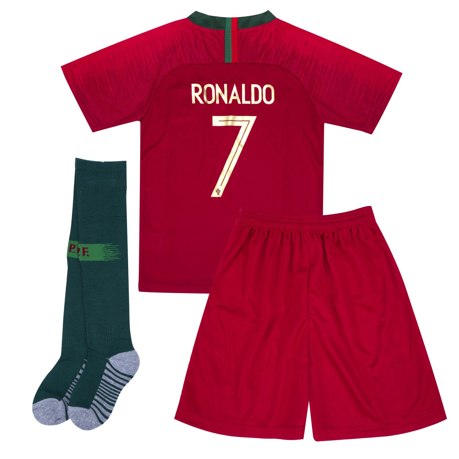7c9e50d05 Amazon.com  2018 Russia World Cup Portugal  7 C Ronaldo National Team Home  Kids Or Youth Soccer Jersey   Shorts   Socks Set Red 10-11Years  Clothing