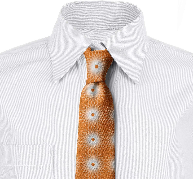 3.7 Burnt Orange Off White Geometric Sun Symmetry Lunarable Mens Tie