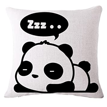 Fengzhicai Cartoon Panda Print Linen Square Pillow Case Throw Cushion Cover Home Sofa Decor