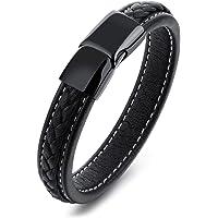 Pure titanium black leather bracelet mens Leather Bracelet STYSL294
