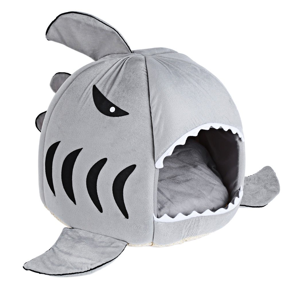 M Najer Novelty Soft Shark Mouth Shape Doghouse Pet Sleeping Bed with Removable Cushion