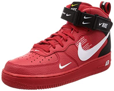 wholesale dealer a0f06 f4fb6 NIKE Air Force 1 Mid 07 Lv8 Mens Trainers Red Black - 10 UK