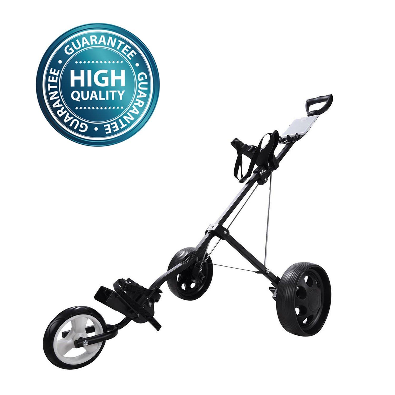 Koval Inc. 3 Wheel Push-Pull Folding Golf Cart Trolley