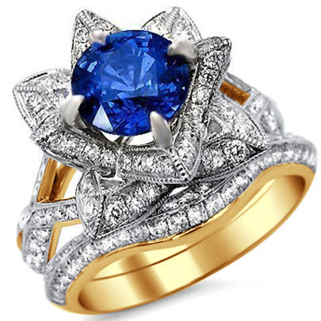 Smjewels 2.65 Ct Round Blue Sapphire Lotus Flower CZ Diamond Ring Bridal Set In Yellow Gold Fn
