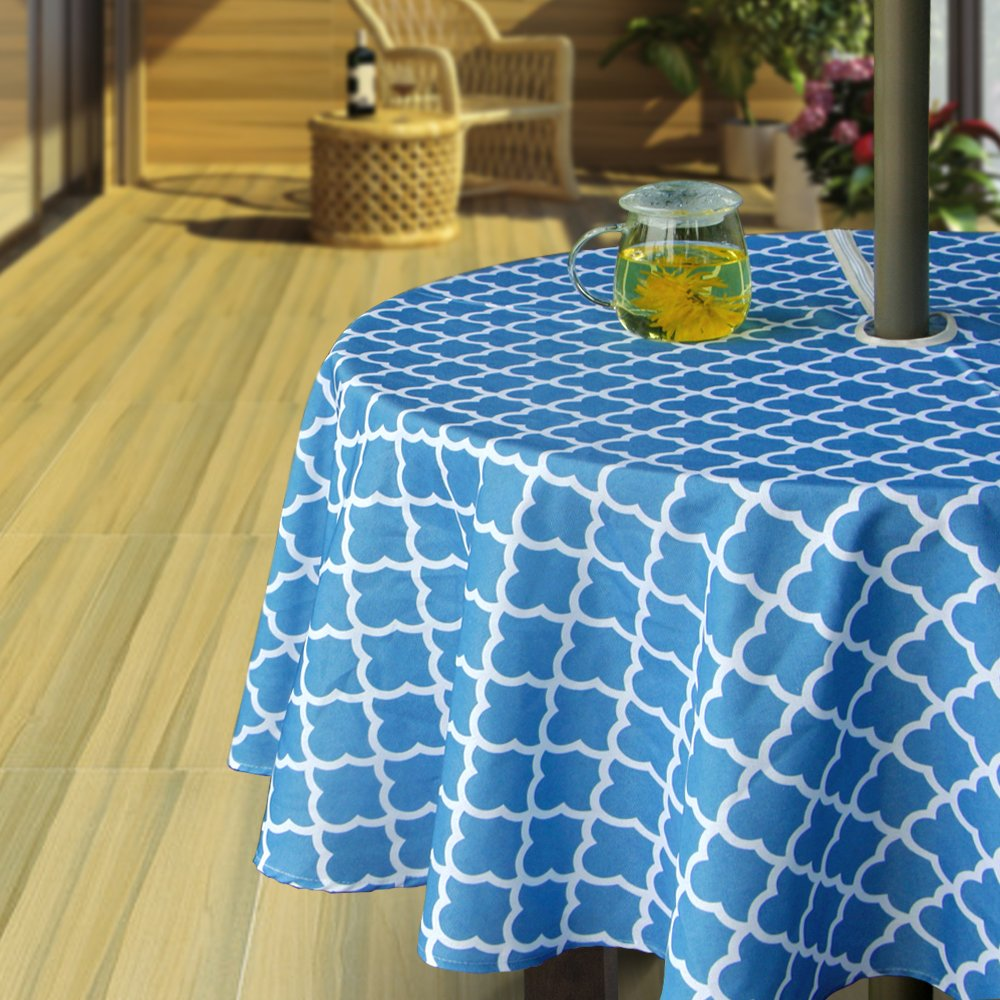 Hipinger Heavyweight Wrinkle-Free Stain Resistant Waterproof Outdoor Tablecloth with Umbrella Hole and Zipper,60 Inch Round, Blue, Seats 4 People