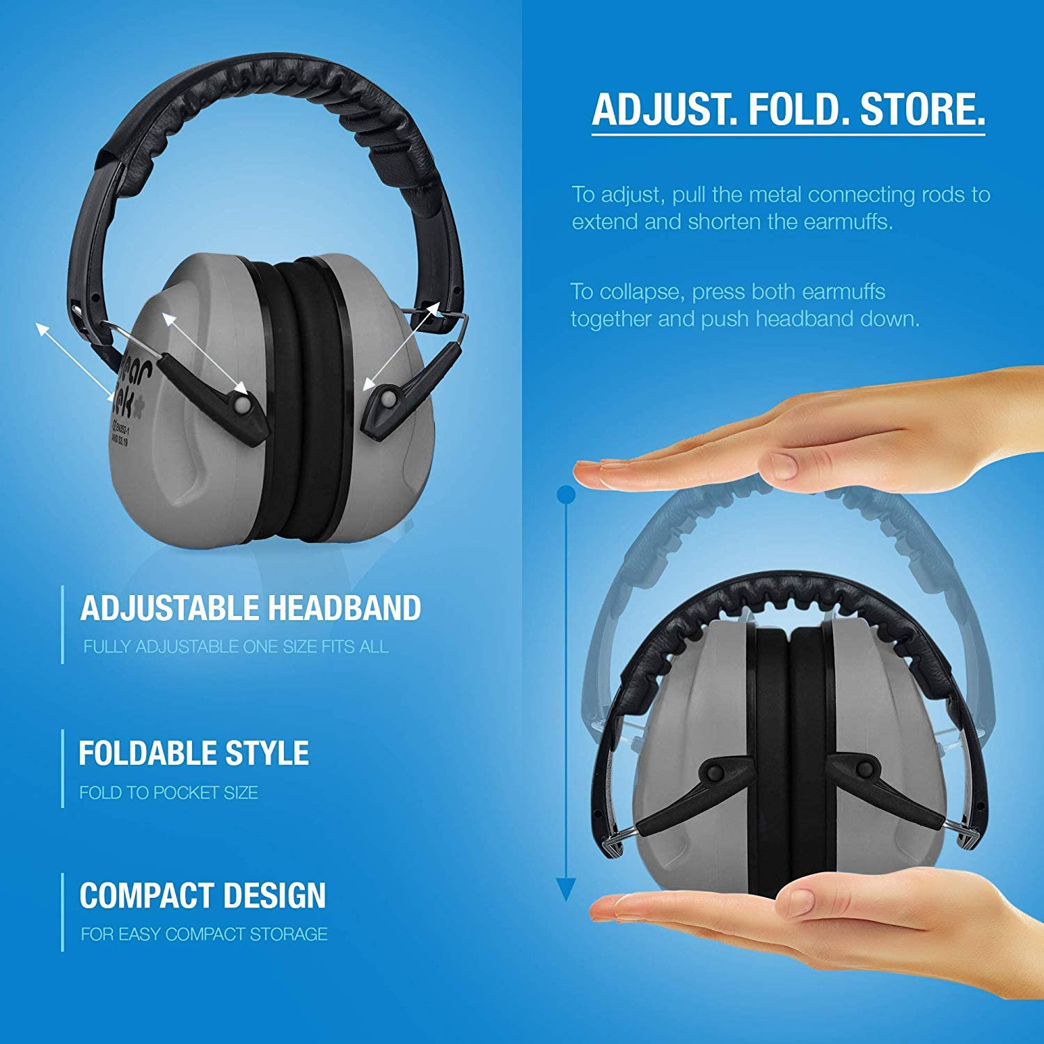 Infants Adjustable HEARTEK Kids Ear Protection Noise Reduction Children Protective Earmuffs Sound Cancelling Hearing Muffs for Toddler Foldable with Travel Bag Baby