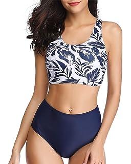 02ebf1d2e98f7 BeachQueen Women Two Piece High Waisted Leaf Printed Swimsuits Striped Bikini  Set Swimwear