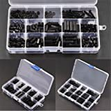 Malayas 260Pcs M3 Black Nylon Hex Spacer Screw Nut M-F Stand-off Assortment Kit Plastic Box Set for Electronics Computers PCB Board DIY Drone