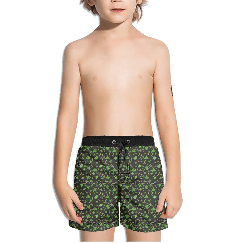 Trum Namii Boys Quick Dry Swim Trunks Smoking Marijuana Green Shorts
