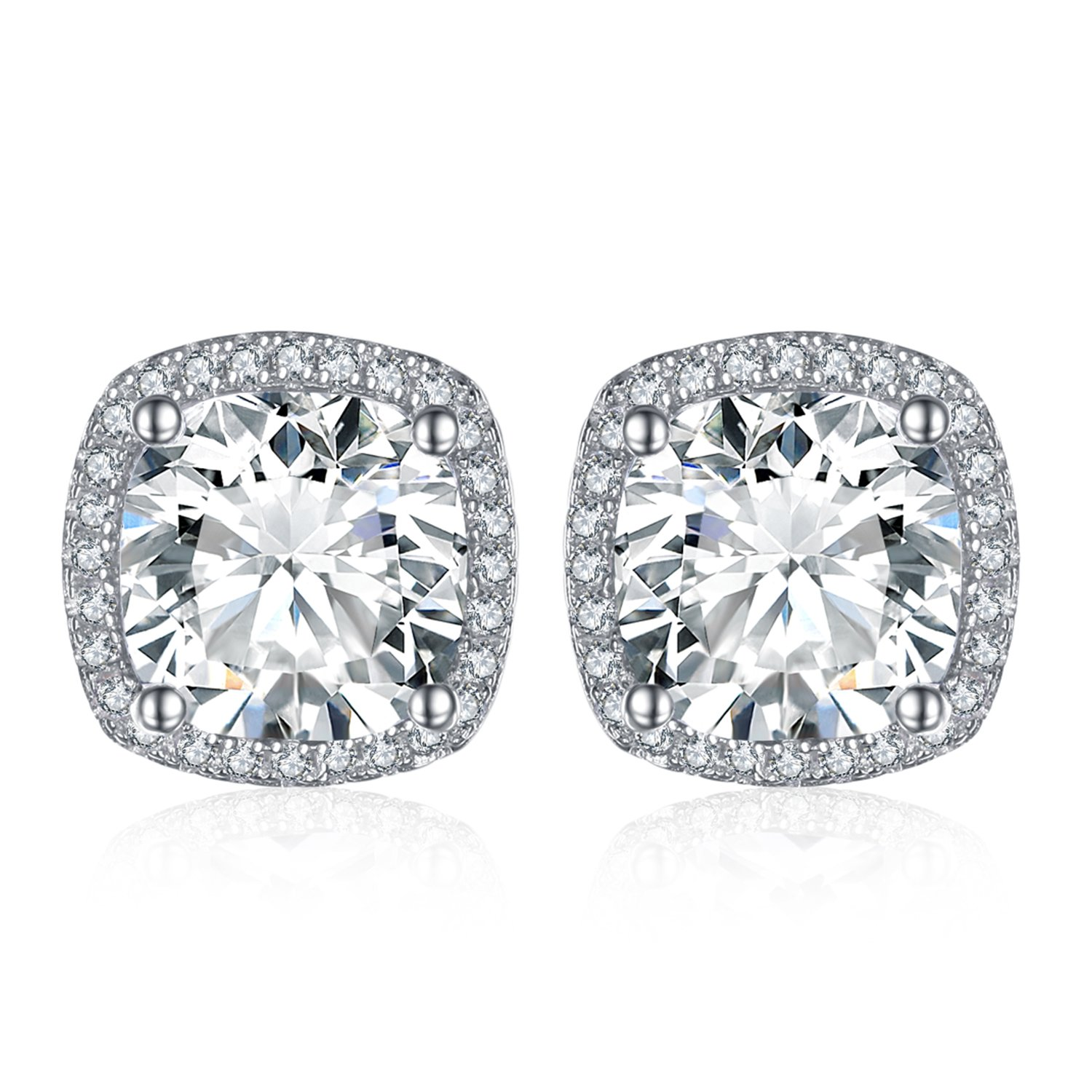JewelryPalace Cushion 5ct Cubic Zirconia Halo Stud Earrings 925 Sterling Silver
