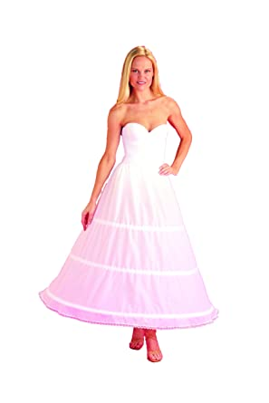 d50a1c1ee2c5 Image Unavailable. Image not available for. Color: 3 Bone Hoop Skirt Bridal  Wedding Gown Slip ...