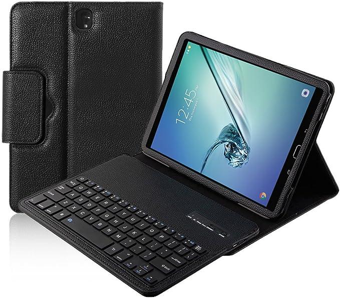 xboun Samsung Galaxy Tab S2 Caso, 9,7 con teclado inalámbrico desmontable teclado Bluetooth caso, Slim funda de piel sintética con función atril para ...