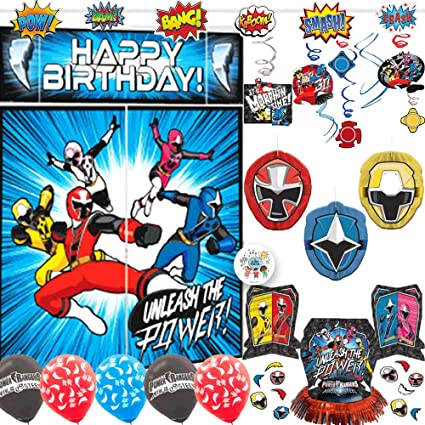 Power Rangers Ninja Steel Birthday Party Decorations Pack With Power Rangers Scene Setter, Action Banner, Hanging Swirls, Honeycomb, Balloons, Table ...