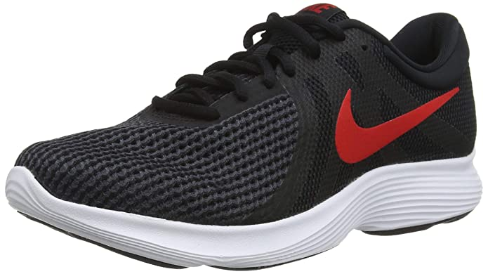 Nike Revolution 4 Herren schwarz mit rotem Streifen (Black/University Red/Oil Grey/White)