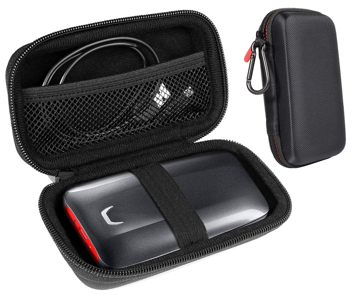 InGo Portable SSD Protective Case Compatible with SanDisk 1TB Extreme Portable SSD and Samsung X5 Portable SSD - 1TB - Thunderbolt 3 External SSD, carabiner+mesh pocket+secure elastic strap