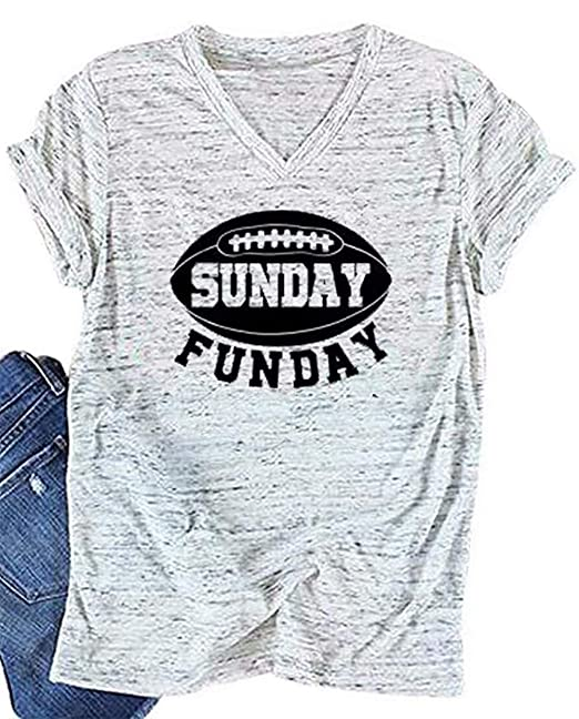 edc90ddb5 Amazon.com: LUKYCILD Women Sunday Funday Football Sport T-Shirt Short  Sleeve Casual Letter Print Shirt Top: Clothing