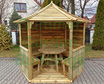 8x7 WOODEN HEXAGONAL GARDEN GAZEBO - PRESSURE TREATED TIMBER, SLATTED ROOF  - With 3 matching benches
