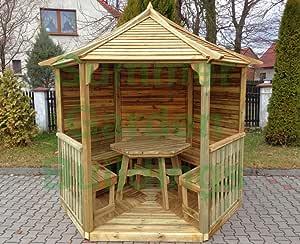 Jardín de verano edificios 8 X 7 hexagonal Gazebo – madera tratada ...