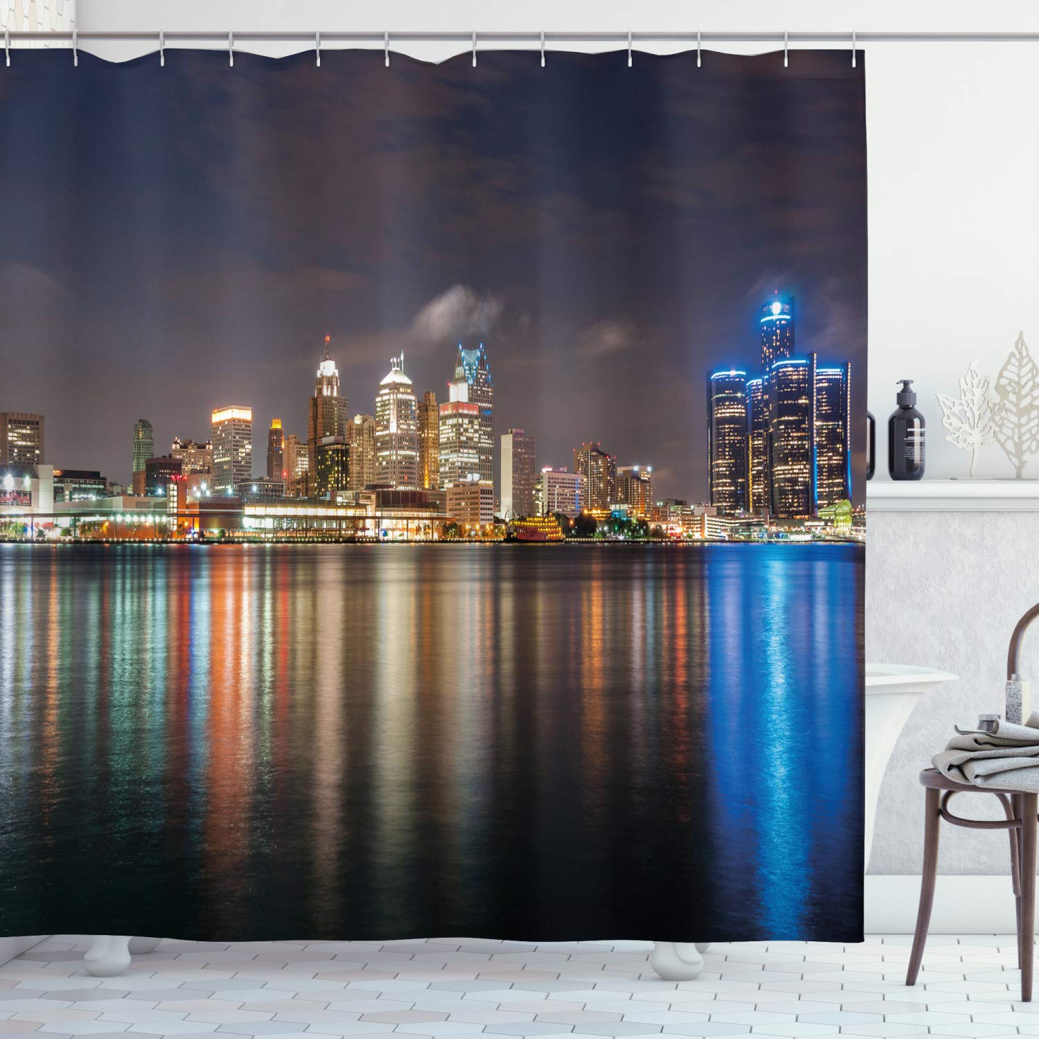 Ambesonne Detroit Shower Curtain Modern Metropolis Cityscape At Night Time Detroit River With Colorful Reflection Cloth Fabric Bathroom Decor Set