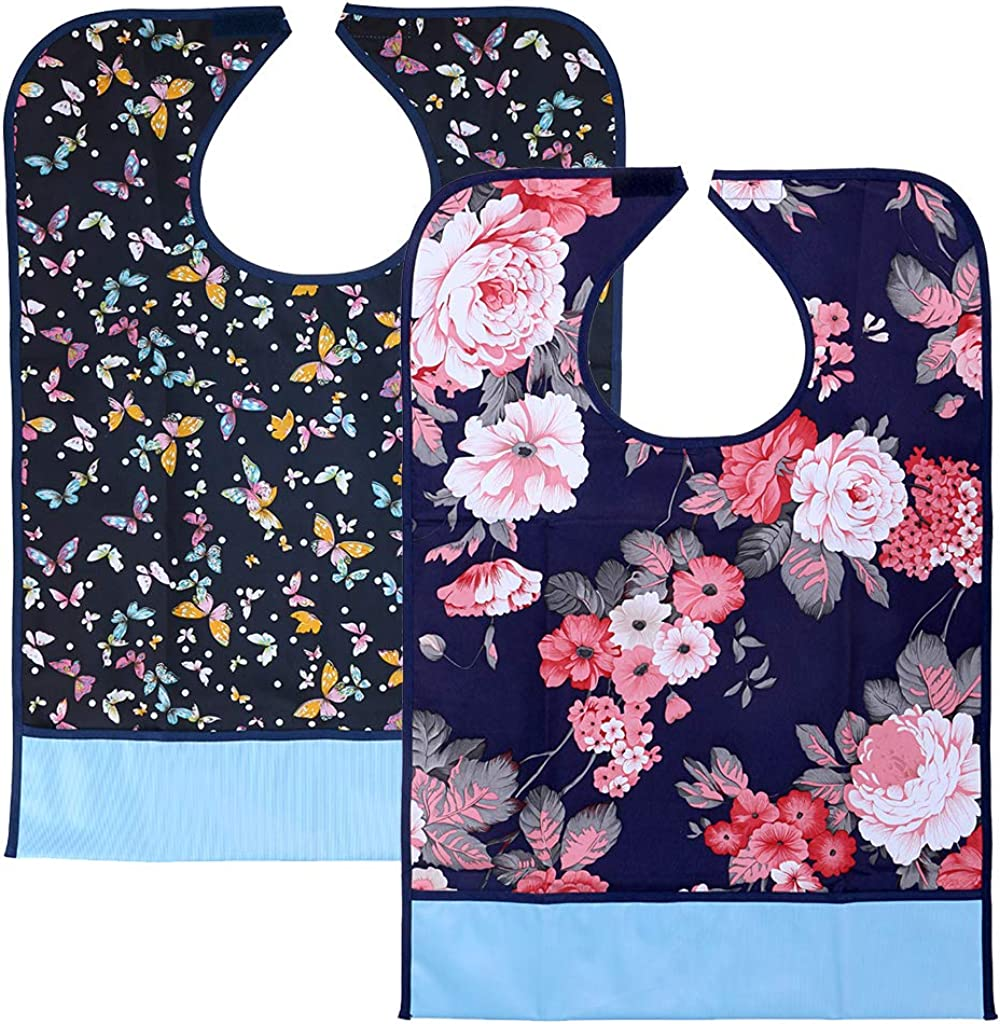 Sumnacon 2Pcs Colorful Waterproof Adult Bibs - Reusable Dining Clothing Protectors with Crumb Catcher, Decorative Washable Bibs for Adult Women Elderly Patient Disability