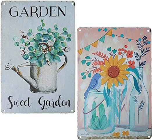 White /& Blue /'Flores Garden/' Decorative Floral Plaque Ideal for Wall Mounting