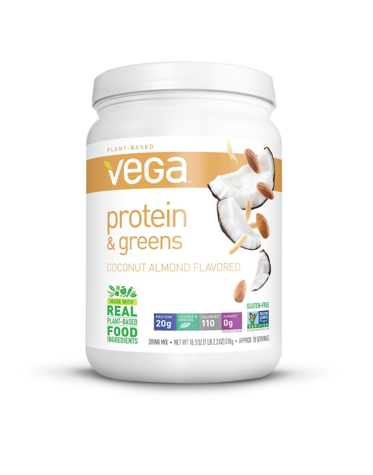 Vega Protein & Greens, Coconut Almond, 1.14 lb, 18 Servings