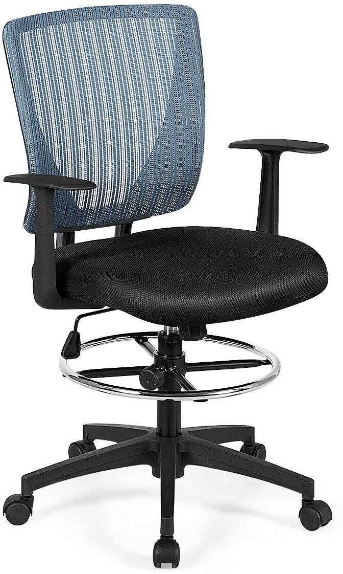 Giantex Mesh Drafting Chair with Footrest Ring, Adjustable Height and Lumbar Support Mid Back Swivel Rolling Executive Chair for Standing Desk, Home Sturdy Office Furniture Black Blue