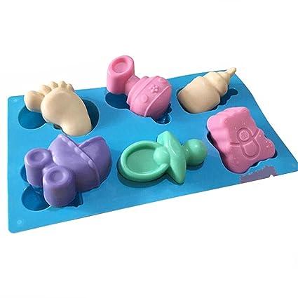 Artes Efivs bebé ducha partido Pan oso vagones botella pies oso silicona jabón Chocolate Cake Cookie Mold Pudding Jelly Mold