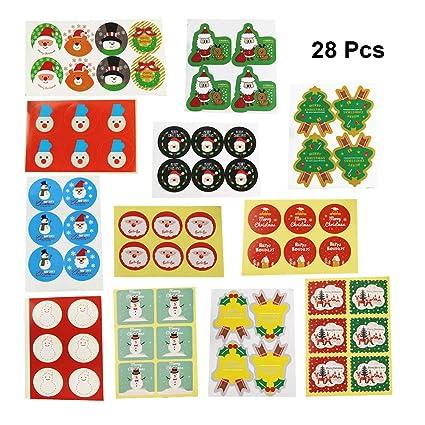 amazon com healifty christmas labels 28pcs christmas sealing