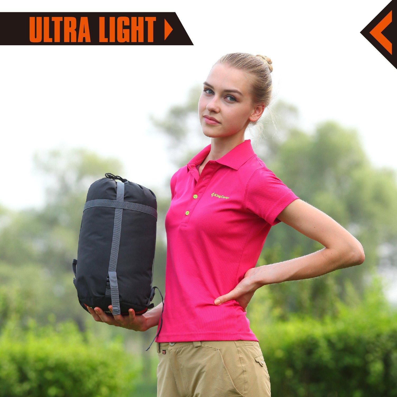KingCamp Ultralight Mummy -10 Degree C / 14℉ Down Adult Sleeping Bag with Compression Sack Orange