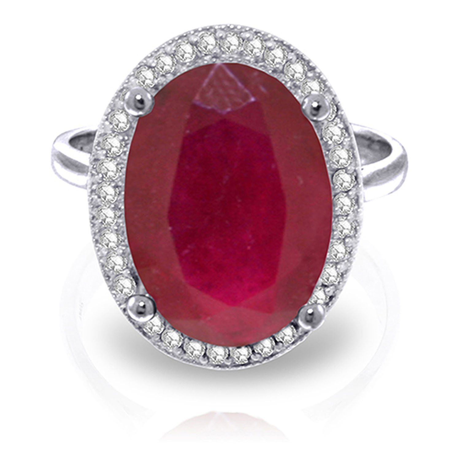 7.93 Carat 14k Solid White Gold Ring with Natural Oval-shaped Ruby and Genuine Diamonds - Size 7.5