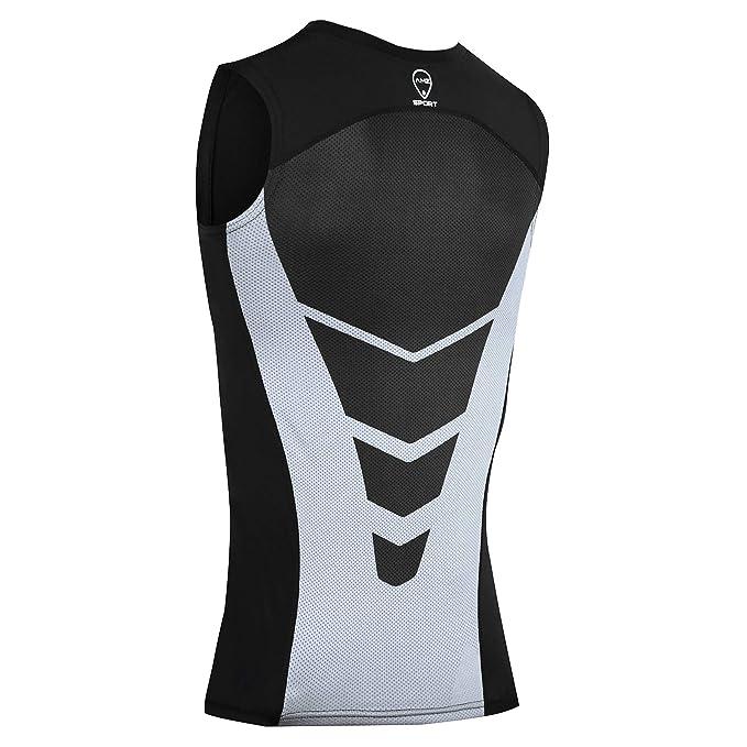 AMZSPORT Camiseta sin Mangas de Compresión para Hombre Capa Base Secado Rápido Deportes Chaleco para Correr