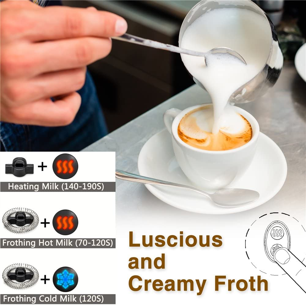 Milk Frother, Automatic Milk Steamer with New Foam Density Feature, Electric Frother with Hot or Cold Milk Function for Coffee, Cappuccino and Breakfast,ETL FDA Approved