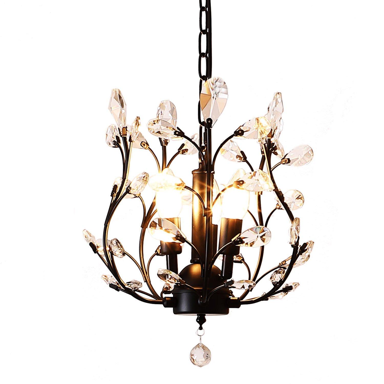Lufun modern crystal chandeliers crystal pendant light chandelier lighting fixtures ceiling light for living room bedroom restaurant hallway black