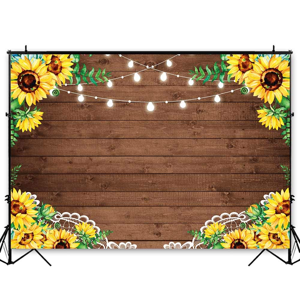 Funnytree 8x6ft Durable Fabric Sunflowers Rustic Brown Wood Backdrop No Wrinkles Retro Wooden Floor Photography Background Flower Baby Shower Birthday Party Decorations Photo Booth Props Banner