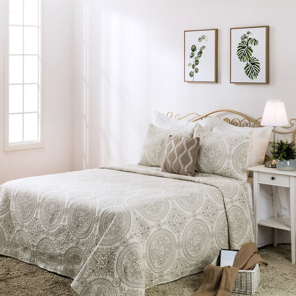 Elegant Life 100% Cotton Reversible Medallion Solid Embroidery Bed Quilt Comforter, King Size (108''x 95''), Ivory by Elegant Life
