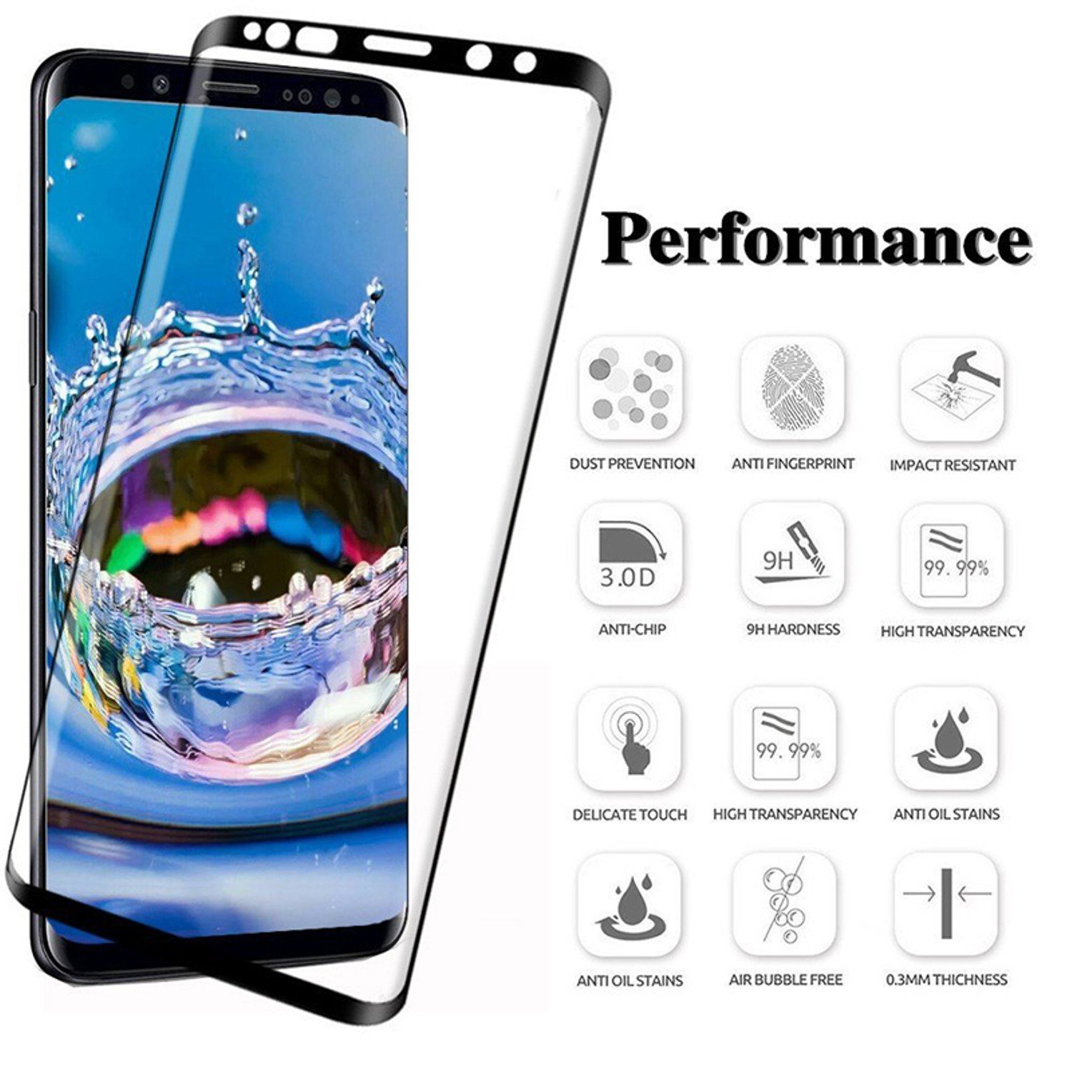 Amazon 6D Full Curved 5D Tempered Glass For Samsung Galaxy S8 S9 Plus 3D Screen Protector S7 Edge Note 8 Plus Cover case Black Samsung S8 Cell