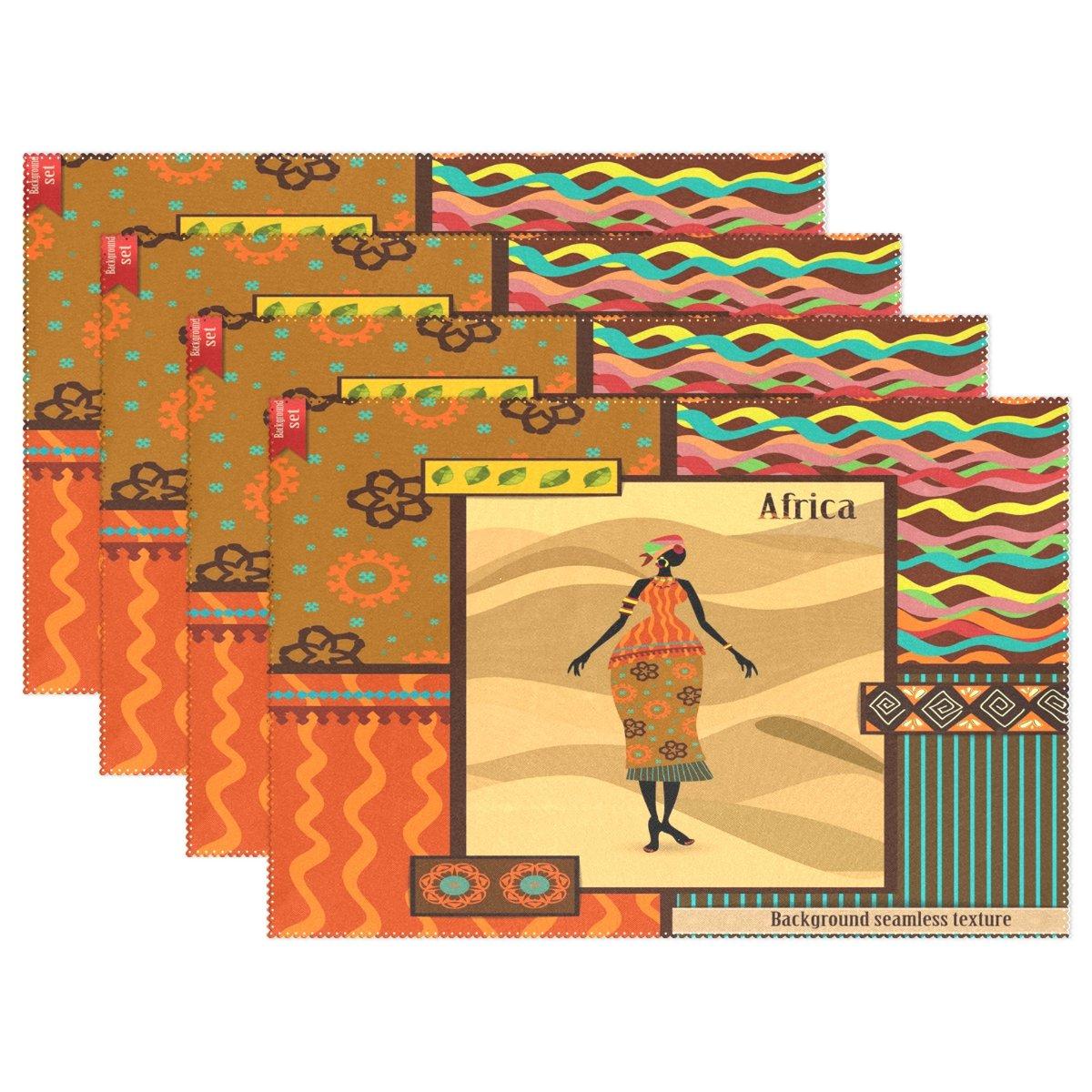 WozoカラフルAfrican Women Girl Tribalプレースマットテーブルマット12
