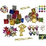 Jiada 50 Pcs Christmas Tree Decoration Pack | Assortment of Bells, Stars, Santa, Gift, Drums, Angel, Candy