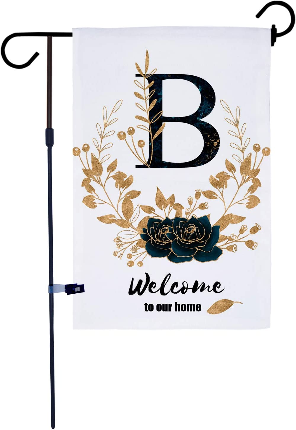 AKPOWER Small Garden Flag Vertical Double Sided Farmhouse Burlap Yard Outdoor Decor Classic Monogram 12 x 18 Inch Letter B