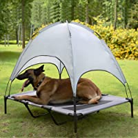 Niubya 48 Inches XLarge Elevated Dog Cot with Canopy (Silver Gray)