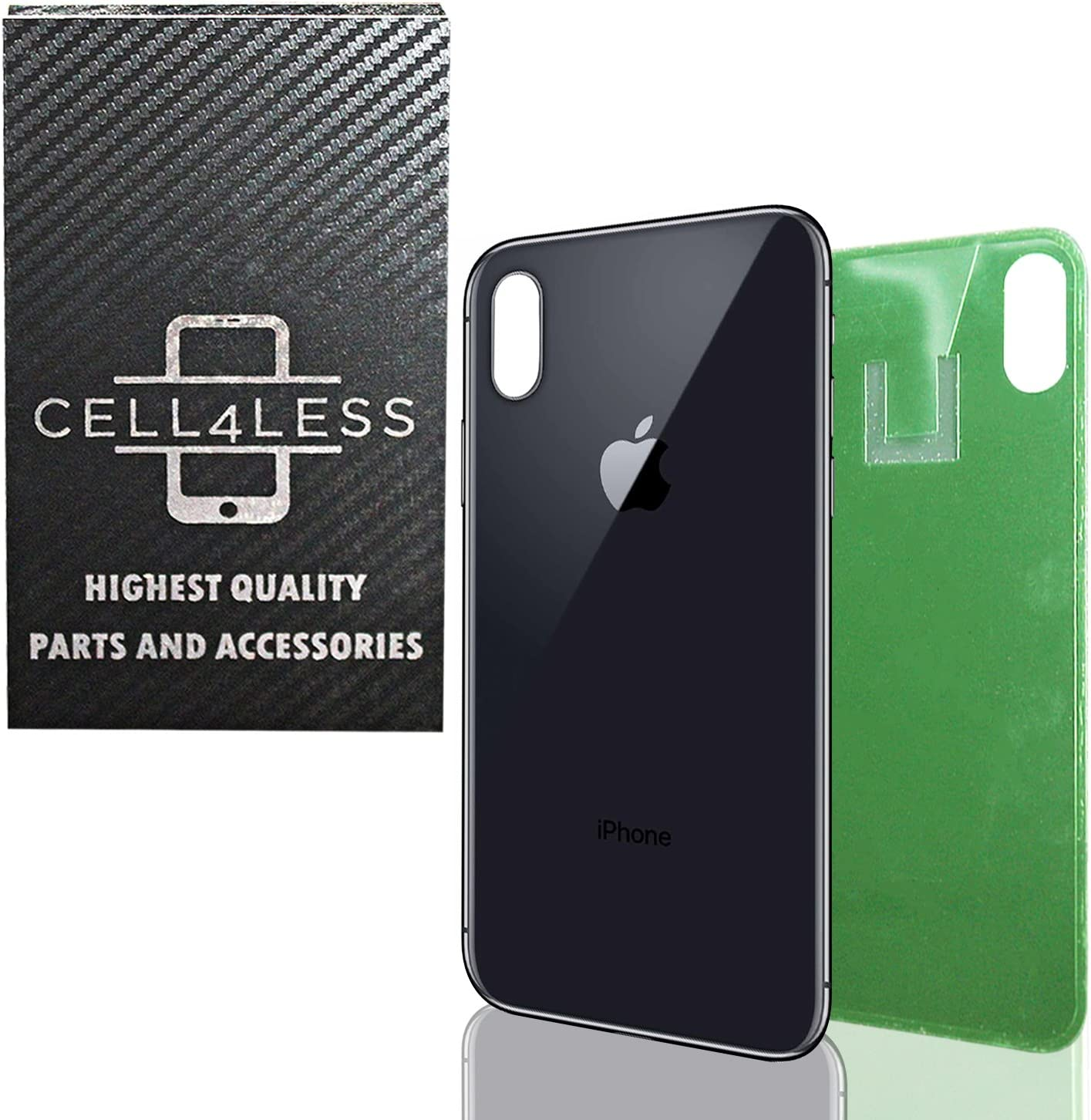 CELL4LESS Compatible Replacement for The iPhone X Back Glass Cover OEM Quality Battery Door Replacement w//Adhesive /& Removal Tool Space Gray