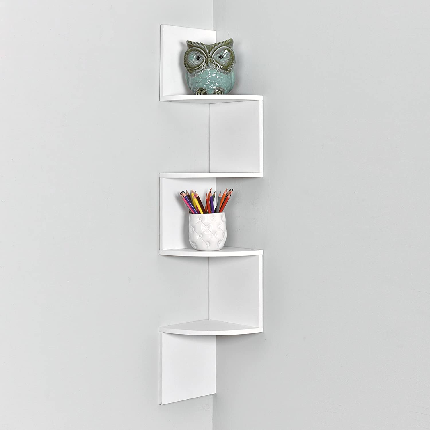 WELLAND Zig Zag 4 Tiers Corner Wall Shelf, White