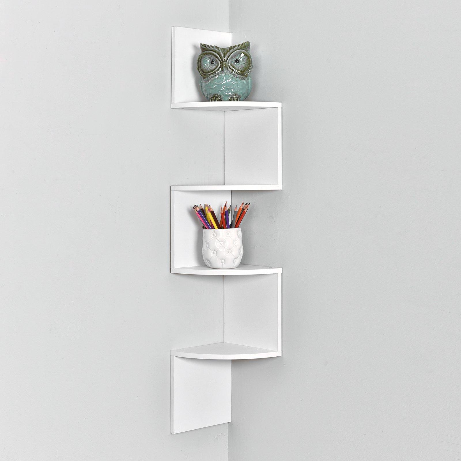 WELLAND Zig Zag 4 Tiers Corner Wall Shelf, White