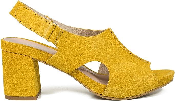 Zueco Sandalia de Mujer con tacón Ancho Mostaza: Amazon.es: Zapatos y complementos