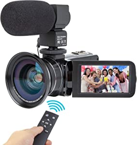 Camcorder Video Camera Kimire HD 1080P 16X Powerful Digital Zoom Camera with Microphone and Wide Angle Lens 3.0 Inch Screen 24 MP Remote Control Infrared Night Vision Recorder