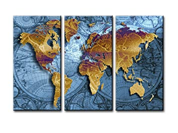Amazon world map canvas wall art sz 3 piece golden map on world map canvas wall art sz 3 piece golden map on nautical chart canvas prints gumiabroncs Image collections