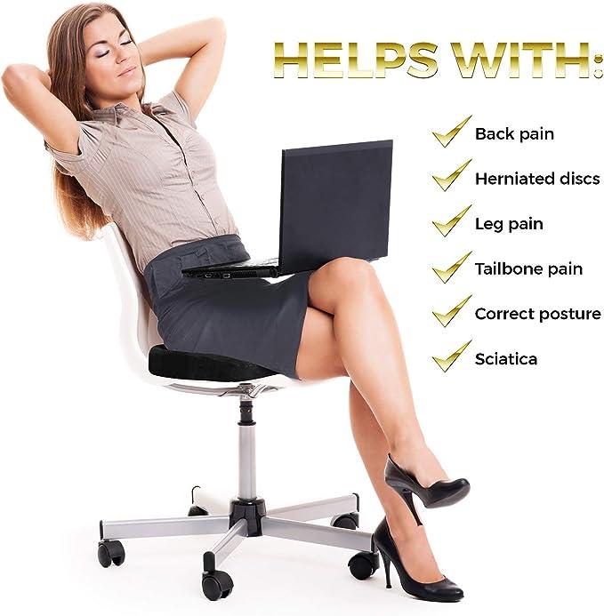 Amazon.com: Cojín Coccyx para sillas, alivio del dolor de ...